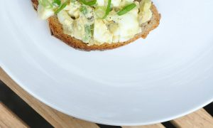 green chile egg salad on toast
