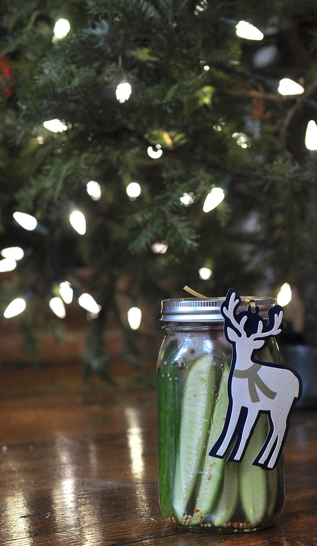 jar of pickles under the Xmas tree