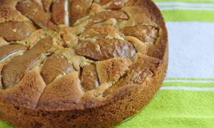 close up of warm brown sugar pear cake